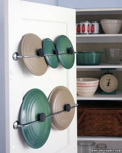 Tips to Organize Every Room in the House - Use cheap towel rack bars to store pot and pan lids inside of cupboard doors - so clever #kitchenorganization #kitchenhacks #kitchentips #kitchenideas #organizationtips #organization #organizationideas