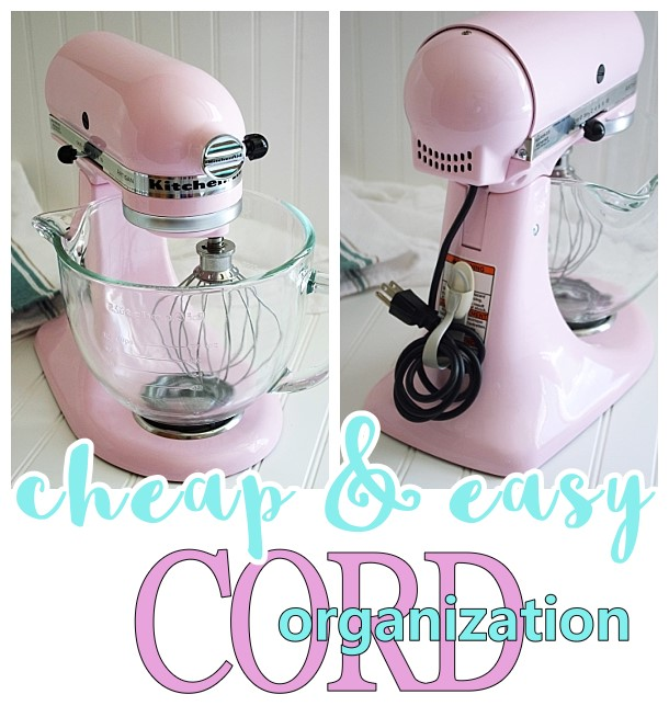 Cheap and Easy Way to Keep Cords for KitchenAid Stand Mixers, Small Appliances and Power Tools neatly Organized - Awesome Organizational Hack and less than two bucks! by Dreaming in DIY