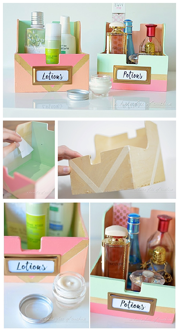 DIY Bathroom Organization Ideas   Upcycle Old CD Storage Boxes Into Cute  Toiletry Holders For The