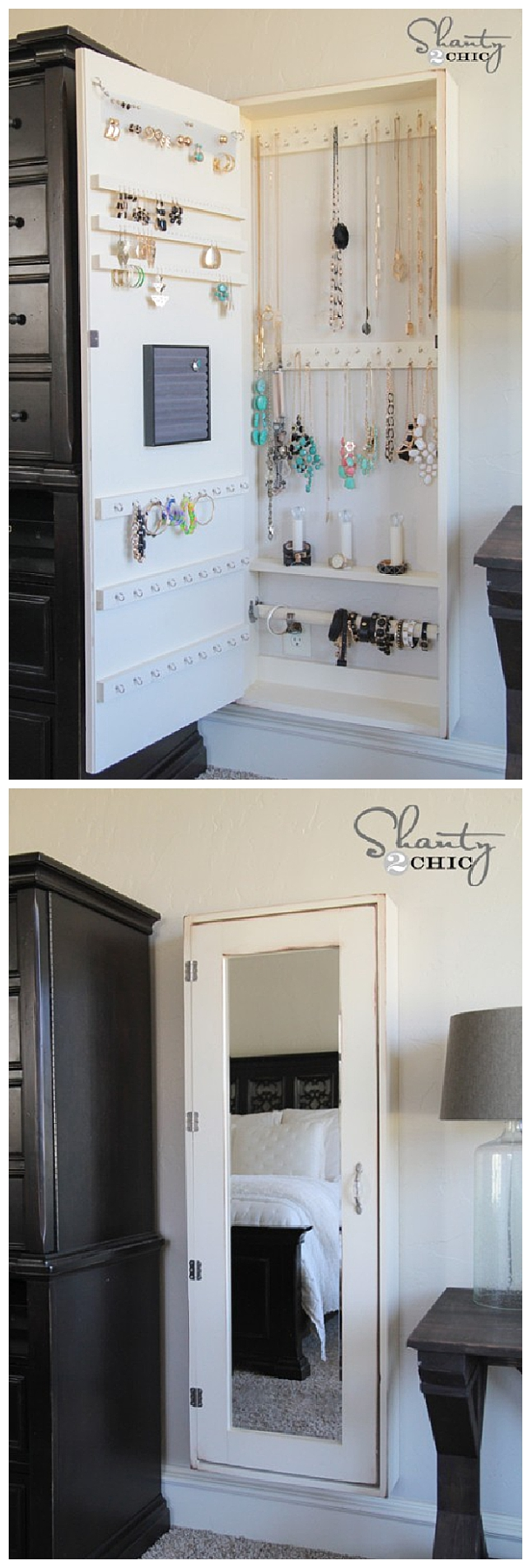 DIY Bathroom Organization Ideas - DIY Jewelry Organizer Cabinet and Full Length Mirror all in one