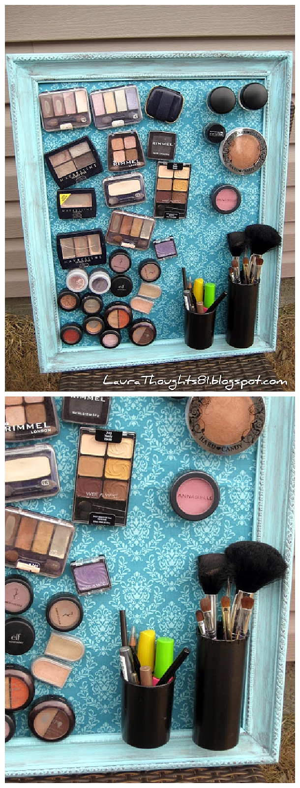 DIY Bathroom Organizer Ideas - DIY Magnetic Makeup and Beauty Tools Decorative Space Saving Organization Board via Laura Thoughts #bathroomorganization #bathroomideas #bathroomhacks #bathroomtips #organizethebathroom
