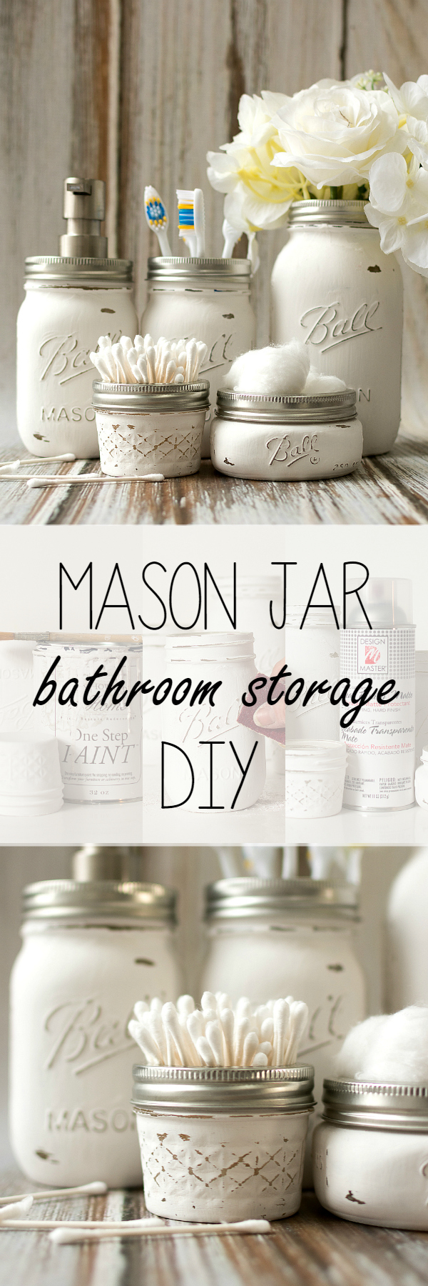 DIY Bathroom Organizer Ideas - Do it Yourself Pretty Distressed Mason Jar Bathroom Organizers Craft Project Tutorial via Mason Jar Crafts Love #bathroomorganization #bathroomideas #bathroomhacks #bathroomtips #organizethebathroom