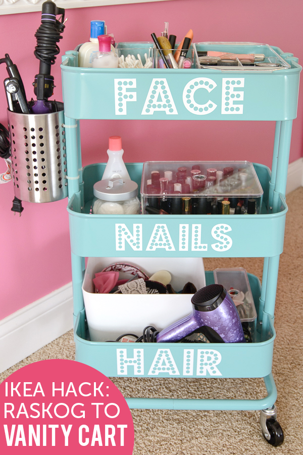 DIY Bathroom Organizer Ideas - Make a really COOL Beauty Tools and accessories organizer - DIY IKEA HACK-RASKOG to Vanity Cart Tutorial via The Polka Dot Chair #bathroomorganization #bathroomideas #bathroomhacks #bathroomtips #organizethebathroom