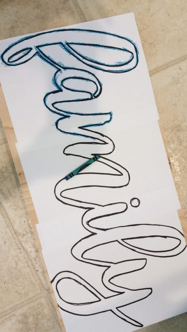 DIY Word Transfer from Print to Wood Using Crayon
