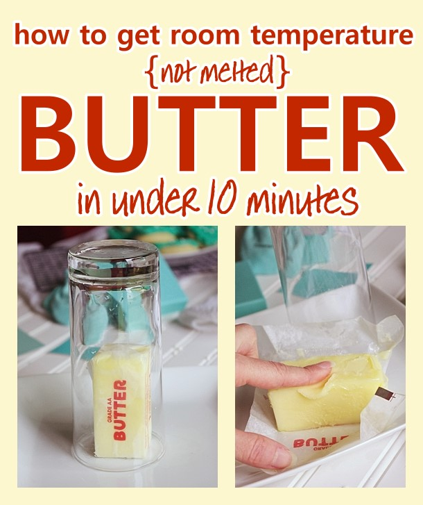 How to get ROOM TEMPERATURE soft butter - NOT melted - QUICKLY - in under ten minutes - awesome baking hack when you are short on time! #softenedbutter #bakinghack #quicksoftenedbutter #roomtemperaturebutterhack #butterhack #bakingtips #bakingtricks #cookinghacks #cookingtips