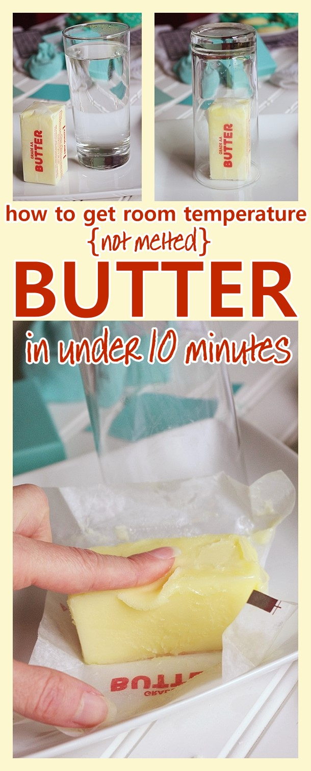 How to get perfectly softened room temperature butter quickly - from fridge to soft and ready to bake with in under 10 minutes - awesome time saving baking hack