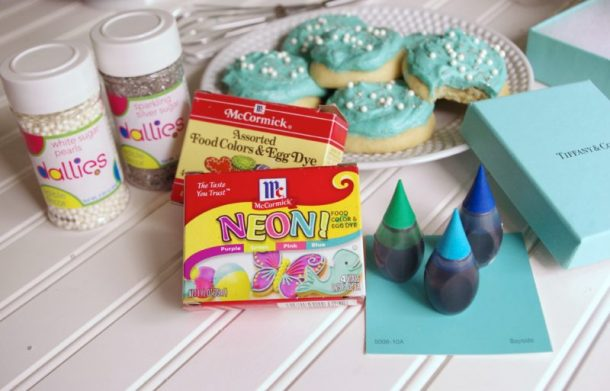 Sprinkles and Food Coloring to Decorate the Cookies - Vanilla Lemon Greek Yogurt Moist and perfect Sugar Cookies with Tiffany Blue Frosting Recipe and Tutorial
