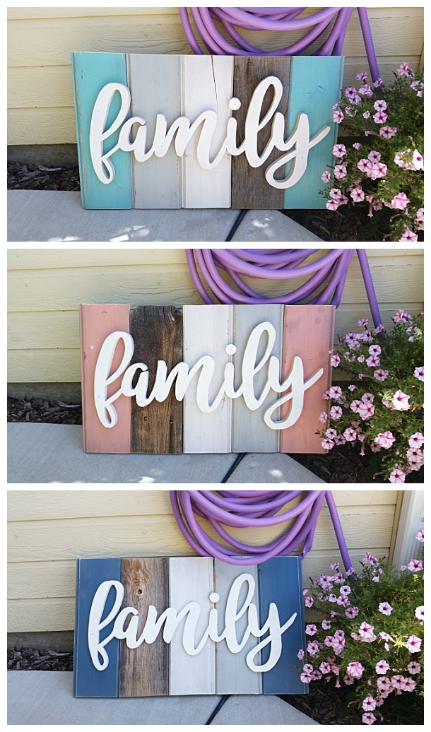 DIY Family Word Art Sign Woodworking Project Tutorial - 3 color schemes of New Wood Distressed to look like weathered Barn Wood Home Decoration #diywoodenwordart #diywordart #woodensign #diywoodensign #diyfamilysign #woodworking #easywoodworking #easydiygifts #diygiftideas #familysign #wordart