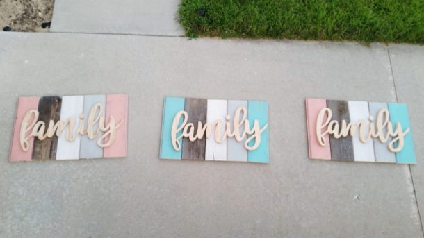 DIY Family Word Art Sign Woodworking Project Tutorial Layed Out signs before painting the words