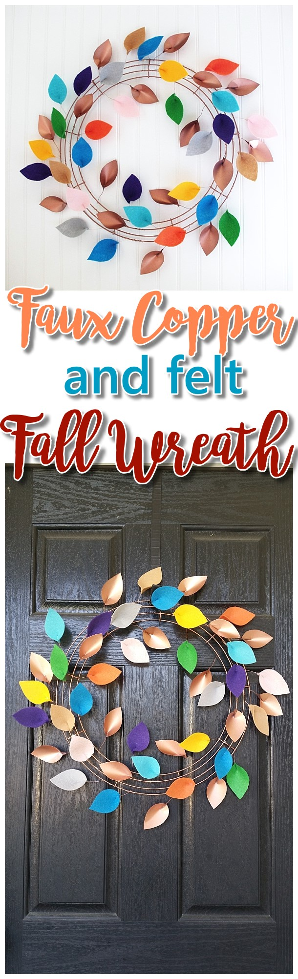 DIY Faux Copper Paper and Felt Leaves Fall Wreath Decoration Paper Craft Tutorial - Pretty Indoor or Outdoor Do it Yourself Paper Crafts Project Autumn Wreath Easy Decoration by Dreaming in DIY