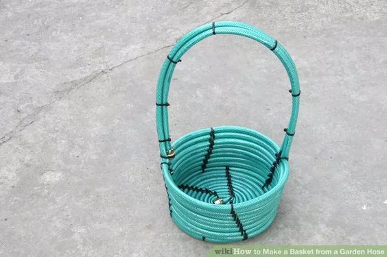 How to Make a DIY Basket from a Garden Hose via Wiki How and lots of Do it Yourself Gift Baskets Ideas for All Occasions - #giftbaskets #giftbasketideas #diygiftbaskets #gifthampers #easygifts #giftideas #birthdaygifts #diybirthdaygifts #birthdaygiftideas