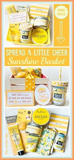DIY Box of Sunshine To Cheer Someone UP or as a Get Well Gift Basket with Free Printables via Melly Moments - Do it Yourself Gift Baskets Ideas for All Occasions - Perfect for Christmas - Birthday or anytime! #giftbaskets #giftbasketideas #diygiftbaskets #gifthampers #easygifts #giftideas #birthdaygifts #diybirthdaygifts #birthdaygiftideas