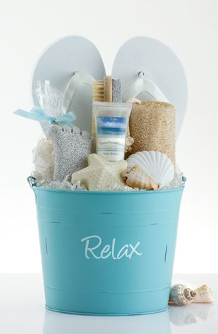 Create a Summery DIY Spa Gift Basket with FLIP FLOPS! Idea via Pleasant Surprises - Do it Yourself Gift Baskets Ideas for All Occasions - Perfect for Christmas - Birthday or anytime! #giftbaskets #giftbasketideas #diygiftbaskets #gifthampers #easygifts #giftideas #birthdaygifts #diybirthdaygifts #birthdaygiftideas