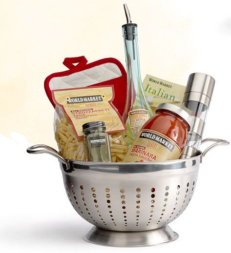 Pretty Food Gift Basket DIY - Use a Colander for a Foodie Gift via World Market - Do it Yourself Gift Baskets Ideas for All Occasions - Perfect for Christmas - Birthday or anytime! #giftbaskets #giftbasketideas #diygiftbaskets #gifthampers #easygifts #giftideas #birthdaygifts #diybirthdaygifts #birthdaygiftideas
