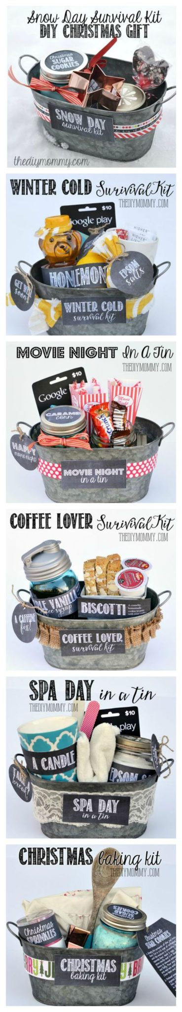 6 DIY Gifts in a Tin Ideas via The DIY Mommy - Do it Yourself Gift Baskets Ideas for All Occasions - Perfect for Christmas - Birthdays or anytime! #giftbaskets #giftbasketideas #diygiftbaskets #gifthampers #easygifts #giftideas #birthdaygifts #diybirthdaygifts #birthdaygiftideas