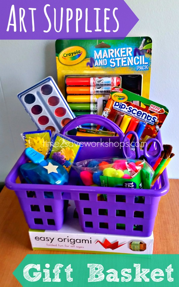 Easy and FUN Art Supplies DIY Gift Basket Caddy via Time2Save - Do it Yourself Gift Baskets Ideas for All Occasions - Perfect for Christmas, Birthdays or anytime! #giftbaskets #giftbasketideas #diygiftbaskets #gifthampers #easygifts #giftideas #birthdaygifts #diybirthdaygifts #birthdaygiftideas