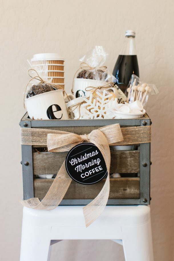 How to Create a DIY Coffee Lover's Gift Basket via The Tom Kat Studio - Do it Yourself Gift Baskets Ideas for All Occasions - Perfect for Christmas, Thank You, Birthdays or anytime! #giftbaskets #giftbasketideas #diygiftbaskets #gifthampers #easygifts #giftideas #birthdaygifts #diybirthdaygifts #birthdaygiftideas