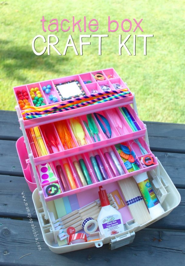 FUN Crafter or Artist DIY Gift Basket Idea - Art and Craft Kit Tackle Box idea via Mama Papa Bubba - Do it Yourself Gift Baskets Ideas for All Occasions - for Christmas, Birthdays or anytime #giftbaskets #giftbasketideas #diygiftbaskets #gifthampers #easygifts #giftideas #birthdaygifts #diybirthdaygifts #birthdaygiftideas
