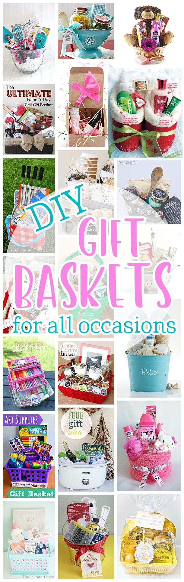Do it Yourself Gift Baskets Ideas for Any and All Occasions - Perfect DIY Gift Baskets for Christmas - Birthdays - Thank You Gifts - Housewarmings - Baby Showers or anytime! #giftbaskets #giftbasketideas #diygiftbaskets #gifthampers #easygifts #giftideas #birthdaygifts #diybirthdaygifts #birthdaygiftideas