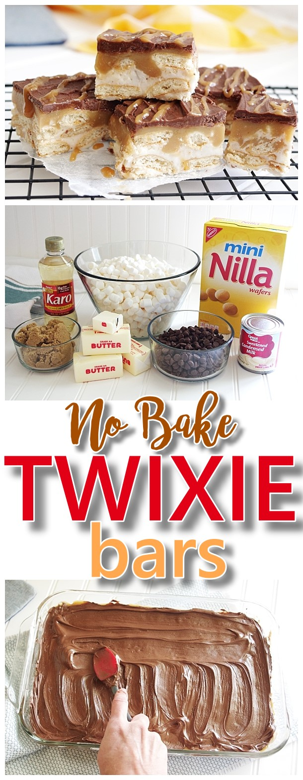 EASY Twixie Bars No Bake Dessert Treats Recipe - Milk Chocolate, Caramel and Nilla Wafers Cookies Layered Yummy Dessert Bars Recipe for TWIX Candy Bars lovers #twixiebars #nobakebars #nobakedesserts #christmasdesserts #christmascookies #holidaydesserts #easydesserts #twixbars #chocolateandcaramel