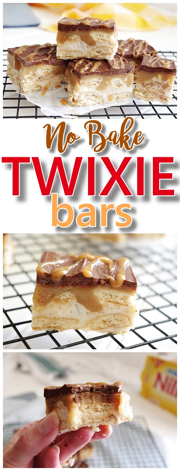 EASY Twixie Bars No Bake Dessert Treats Recipe with Chocolate Caramel Nilla Wafers Cookies Layered Yummy Dessert Bars Recipe for TWIX Candy Bar lovers #twixiebars #nobakebars #nobakedesserts #christmasdesserts #christmascookies #holidaydesserts #easydesserts #twixbars #chocolateandcaramel