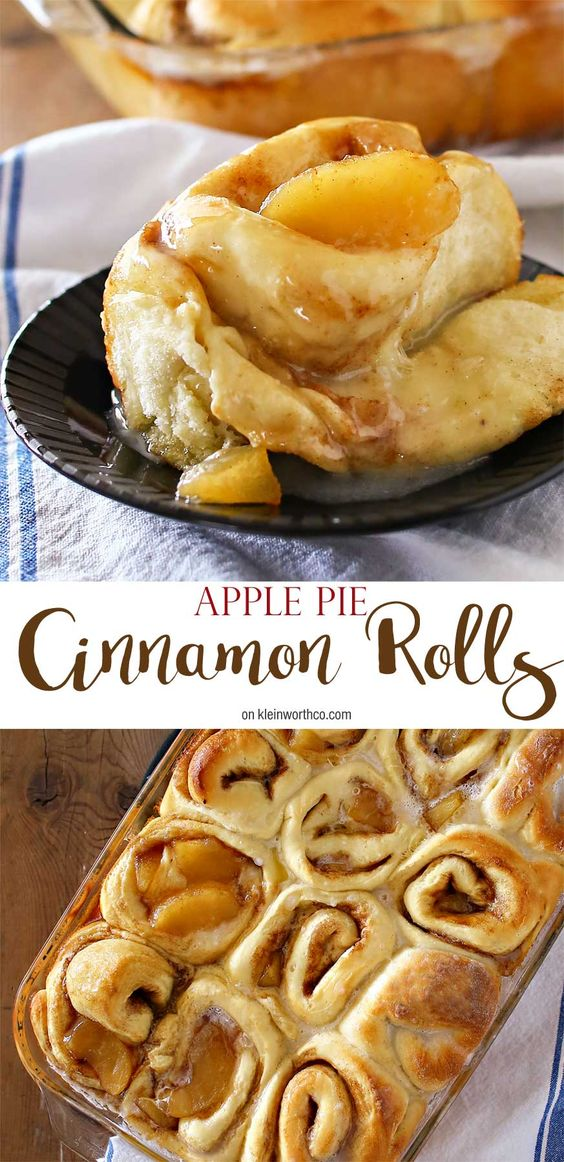 Apple Pie Cinnamon Rolls Recipe | Kleinworth & Co - The BEST Cinnamon Rolls Recipes - Perfect Treats for Breakfast, Brunch, Desserts, Christmas Morning, Special Occasions and Holidays #cinnamonrolls #cinnamon #cinnamontreats #cinnamonrollsrecipes #cinnamondesserts #breakfastrolls #sweetrolls