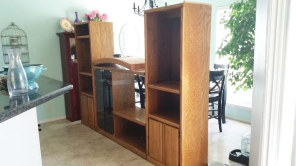 Diy craft room wall storage organizer unit furniture makeover before pic diy 90s entertainment center turned craft room storage organizer wall unit furniture makeover solutioingenieria Gallery