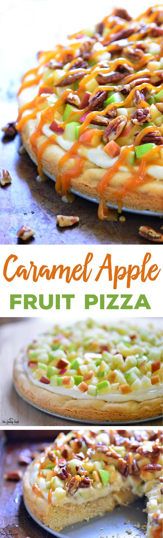 This Caramel Apple Fruit Pizza is a delicious fall dessert with a sugar cookie crust, cream cheese frosting, toasted pecans and a drizzle of delicious caramel as the perfect topper! Caramel Apple Dessert Fruit Pizza Recipe | The Gunny Sack #falldesserts #winterdesserts #christmasdesserts #thanksgivingdesserts #partydesserts #holidaydesserts #cinnamondesserts #carameldesserts #appledesserts