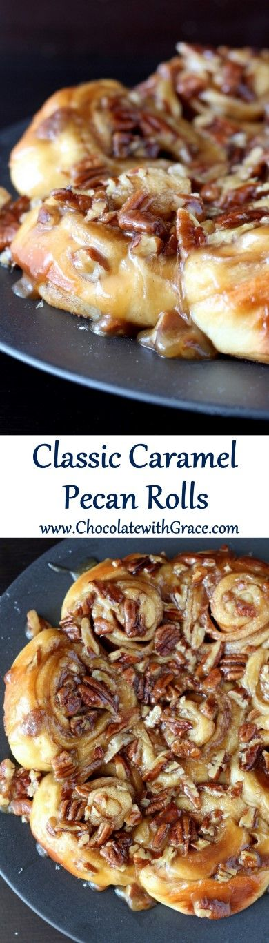 Classic Caramel Pecan Sticky Buns Cinnamon Rolls Recipe | Chocolate with Grace - The BEST Cinnamon Rolls Recipes - Perfect Treats for Breakfast, Brunch, Desserts, Christmas Morning, Special Occasions and Holidays #cinnamonrolls #cinnamon #cinnamontreats #cinnamonrollsrecipes #cinnamondesserts #breakfastrolls #sweetrolls