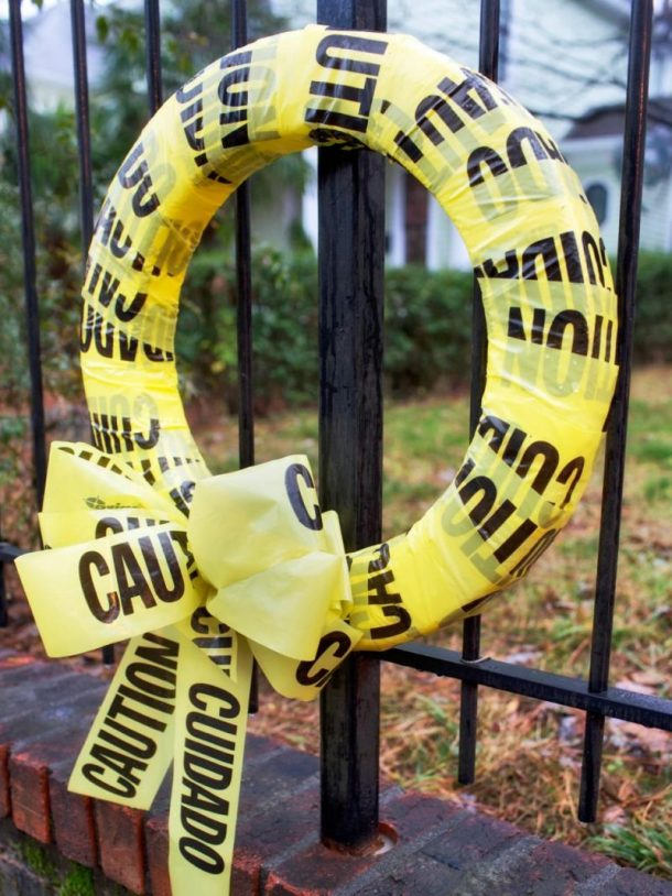 caution tape easy halloween wreath diy tutorial proceed with caution danger ahead - Best Homemade Halloween Decorations