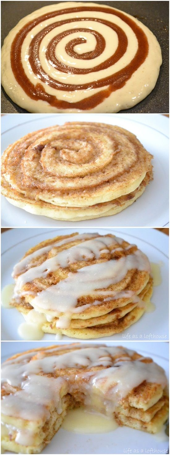 Cinnamon Roll Pancakes Recipe via Life in the Lofthouse - A pancake swirled with cinnamon sugar and an amazing cream cheese glaze on top. Breakfast doesn't get much better than that! #cinnamonrolls #cinnamon #cinnamontreats #cinnamonrollsrecipes #cinnamondesserts #breakfastrolls #sweetrolls