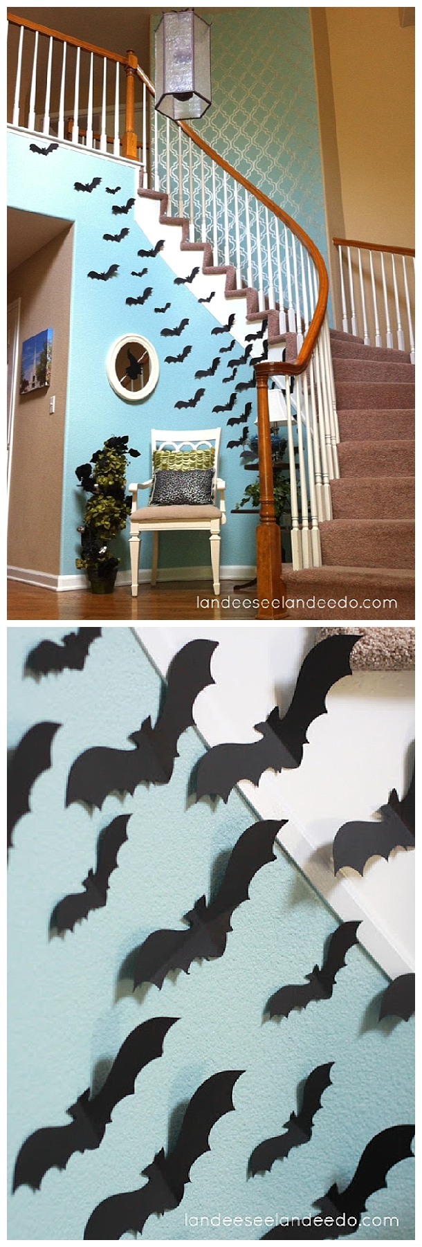 Fun idea for your entryway or front porch! Create a wall of BATS for your spooktacular Halloween Party lair! | Landeelu - Spooktacular Halloween DIYs, Crafts and Projects - The BEST Do it Yourself Halloween Decorations #halloween #halloweendecorations