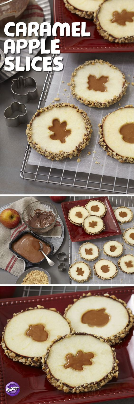 Crisp, fall apple slices get a yummy coat of light cocoa candy with a gooey caramel center. So pretty and perfect for Fall and Winter! Caramel Apple Slices with Cutouts Recipe | Wilton #falldesserts #winterdesserts #christmasdesserts #thanksgivingdesserts #partydesserts #holidaydesserts #carameldesserts #appledesserts