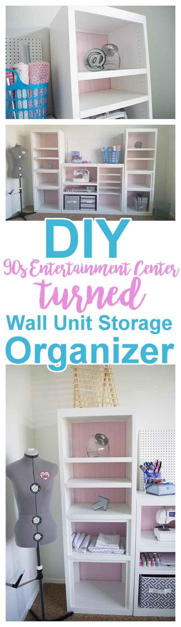 DIY 90s {Ugly!} Entertainment Center Makeover - PRETTY Craft Storage Organizer Wall Unit Makeover Do it Yourself Project Tutorial Furniture Makeover