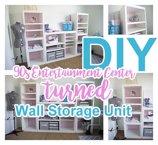 Diy craft room wall storage organizer unit furniture makeover diy 90s entertainment center turned craft room storage organizer wall unit furniture makeover do it solutioingenieria Gallery