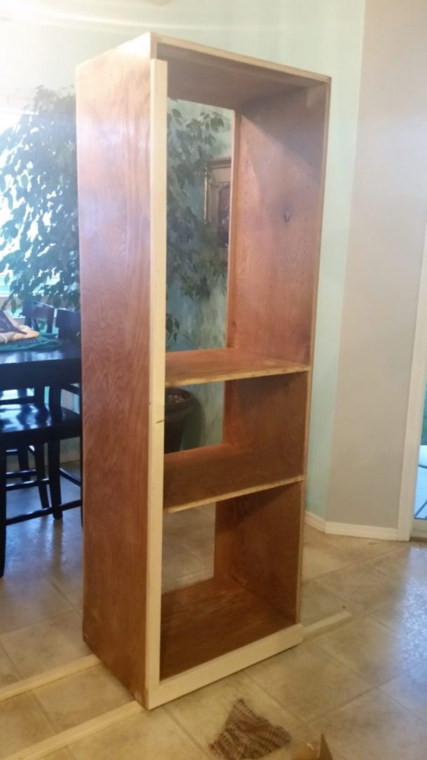 DIY 90s Entertainment Center Turned Craft Room Storage Organizer Wall Unit Furniture Makeover Reframe the Front Faces - Do it Yourself Project Tutorial