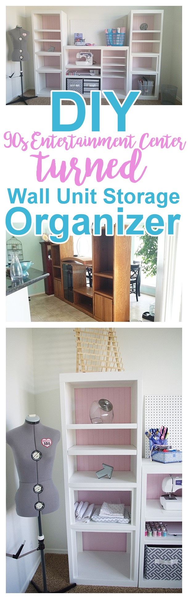 Diy craft room wall storage organizer unit furniture makeover diy 90s ugly oak entertainment center turned pretty craft storage organizer wall solutioingenieria Gallery