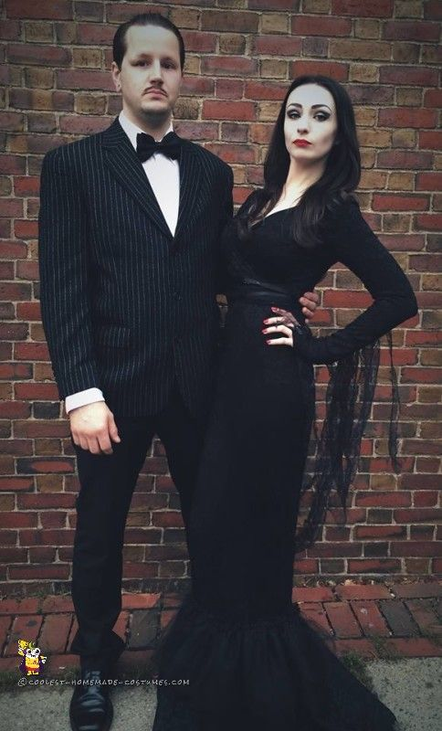 diy couples halloween costume ideas cool morticia and gomez addams family movie theme couple homemade