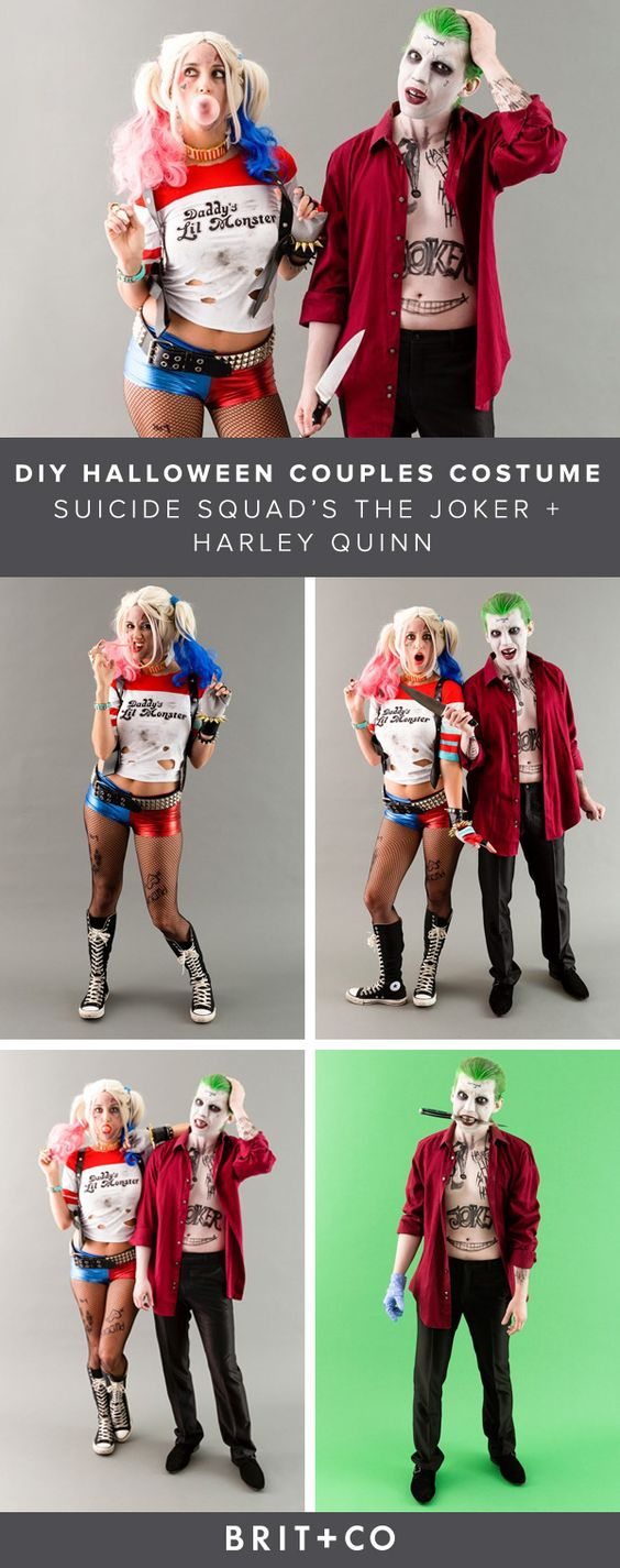 Diy funny clever and unique couples halloween costume ideas diy couples halloween costume ideas harley quinn and the joker handmade costumes from the movie solutioingenieria Image collections