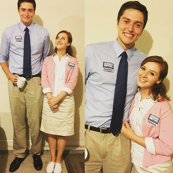 diy couples halloween costume ideas pam beesly and jim halpert from the office epic tv