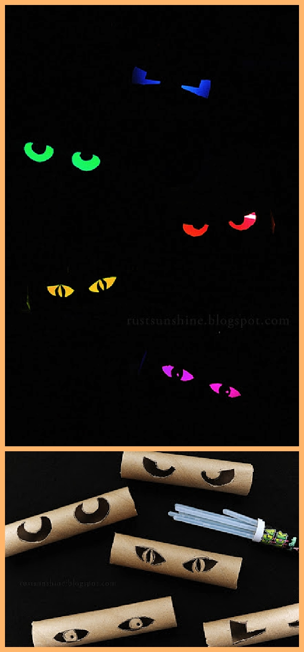 DIY Glowing Eyes - Easy and Cheap Halloween Window Display Decorations Tutorial | Rust and Sunshine - Spooktacular Halloween DIYs, Crafts and Projects - The BEST Do it Yourself Halloween Decorations