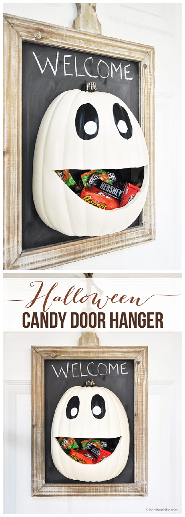 DIY Halloween Candy Pumpkin Face Door Hanger Decoration | Cherished Bliss = Spooktacular Halloween DIYs, Crafts and Projects - The BEST Do it Yourself Halloween Decorations #halloween #halloweendecorations