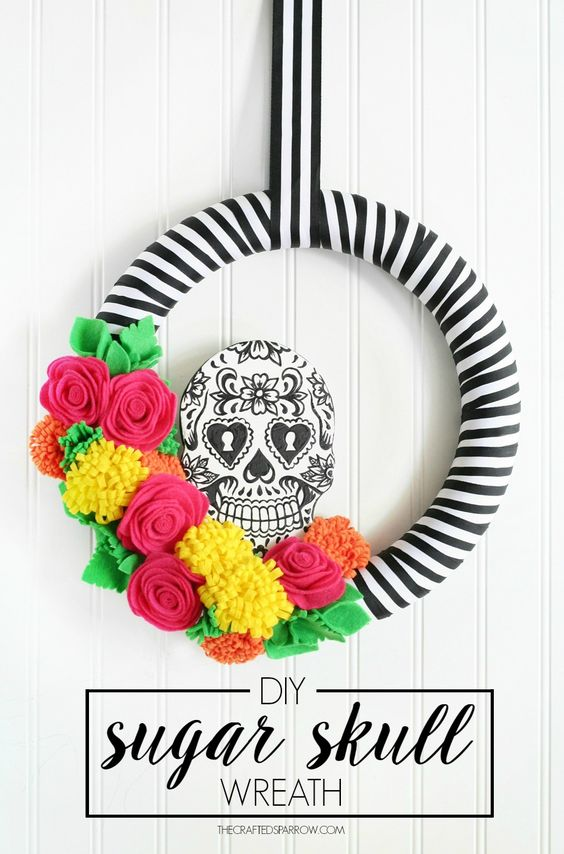 DIY Sugar Skull Wreath Halloween Decoration Tutorial | The Crafted Sparrow - Spooktacular Halloween DIYs, Crafts and Projects - The BEST Do it Yourself Halloween Decorations