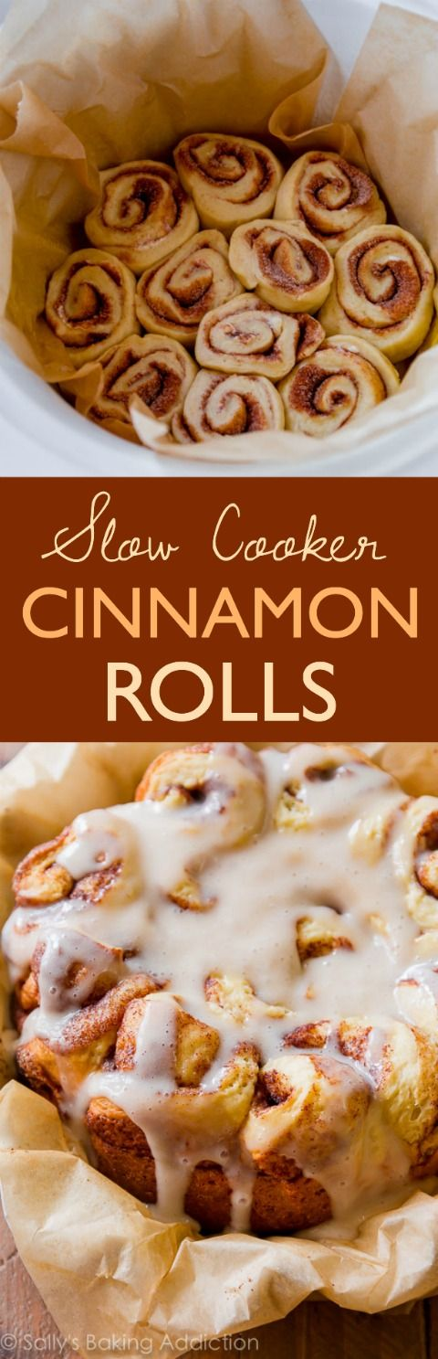Easy Crock Pot Cinnamon Rolls Slow Cooker Recipe | Sally's Baking Addiction - The BEST Cinnamon Rolls Recipes - Perfect Treats for Breakfast, Brunch, Desserts, Christmas Morning, Special Occasions and Holidays #cinnamonrolls #cinnamon #cinnamontreats #cinnamonrollsrecipes #cinnamondesserts #breakfastrolls #sweetrolls