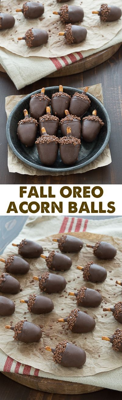 Fall Oreo Acorn Balls Recipe and Tutorial | The First Year #falldesserts #winterdesserts #christmasdesserts #thanksgivingdesserts #partydesserts #holidaydesserts