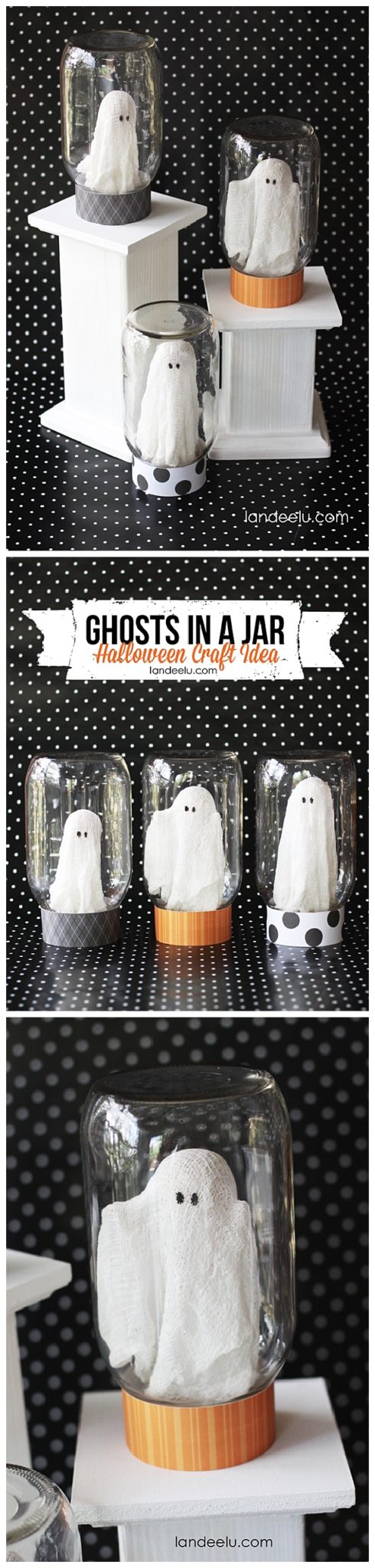 adorable ghosts in a jar halloween decorations craft diy tutorial landeelu spooktacular - Do It Yourself Halloween Decorations