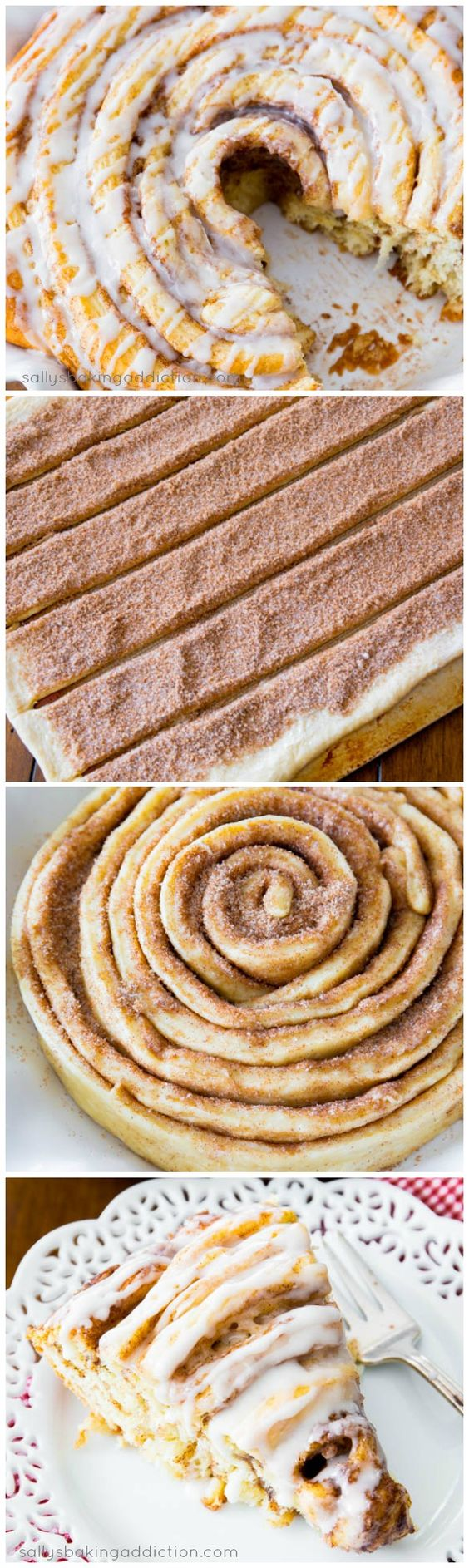 Giant Cinnamon Roll Cake Recipe | Sally's Baking Addiction - The BEST Cinnamon Rolls Recipes - Perfect Treats for Breakfast, Brunch, Desserts, Christmas Morning, Special Occasions and Holidays #cinnamonrolls #cinnamon #cinnamontreats #cinnamonrollsrecipes #cinnamondesserts #breakfastrolls #sweetrolls