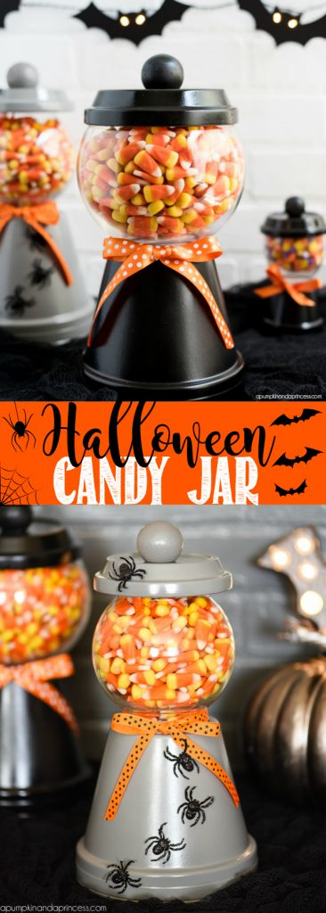 "DIY Halloween Candy Corn ""Gumball Machines"" made from Terra Cotta pots! These would make the cutest gifts, right? 