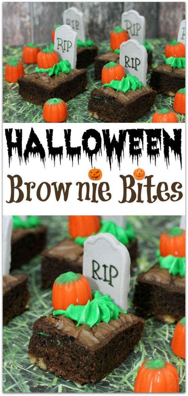 Halloween Party Treats Appetizers and Desserts Recipes - Tombstone Pumpkin Brownie Bites Recipe via Virtually Yours