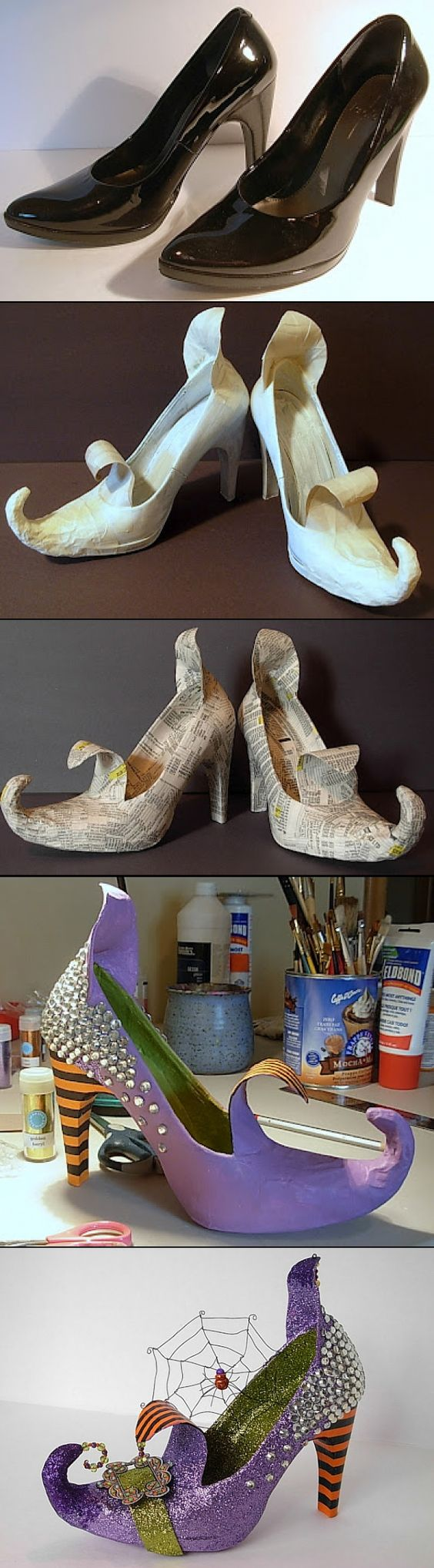 Make the coolest most wicked WITCH shoes from an old pair of your heels! | Dale detalles - Spooktacular Halloween DIYs, Crafts and Projects - The BEST Do it Yourself Halloween Decorations #halloween #halloweendecorations